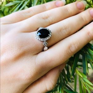 S925 Sterling Silver & Black CZ Ring